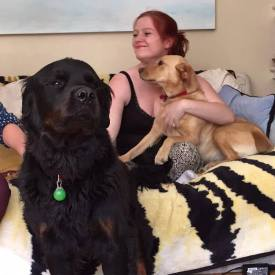 Jo and 2 of the dogs. Dogs make us so much more productive